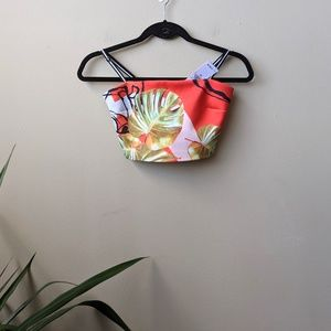 Clover Canyon Leaf Print Neoprene Crop Top size XS